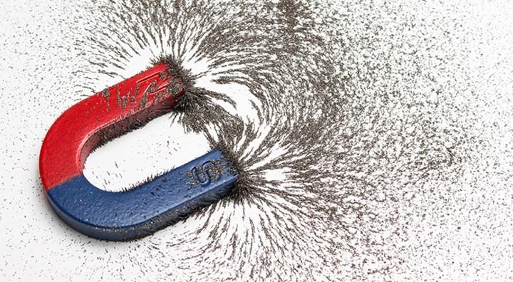 מגנט פרסה: אבקת ברזל מסתדרת לאורך קווי השדה המגנטי